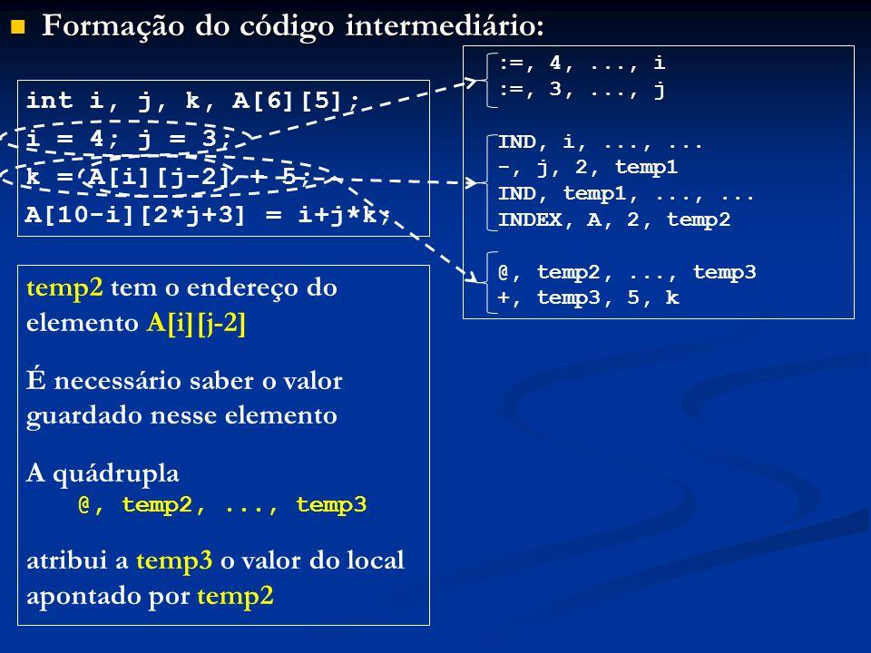Formação do código intermediário: Formação do código intermediário: int i, j, k, A[6][5]; i = 4; j = 3; k = A[i][j-2] + 5; A[10-i][2*j+3] = i+j*k; :=,
