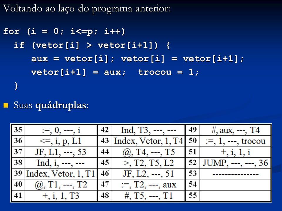 Voltando ao laço do programa anterior: for (i = 0; i<=p; i++) if (vetor[i] > vetor[i+1]) { aux = vetor[i]; vetor[i] = vetor[i+1]; vetor[i+1] = aux; tr