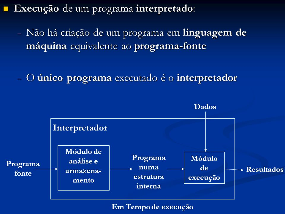 Exemplo: seja o comando de atribuição v1 = v2 + v3 * v4; Um interpretador pode construir-lhe uma árvore de execução (estrutura interna): Um interpretador pode construir-lhe uma árvore de execução (estrutura interna): = Depois ele caminha pela árvore, executando as operações