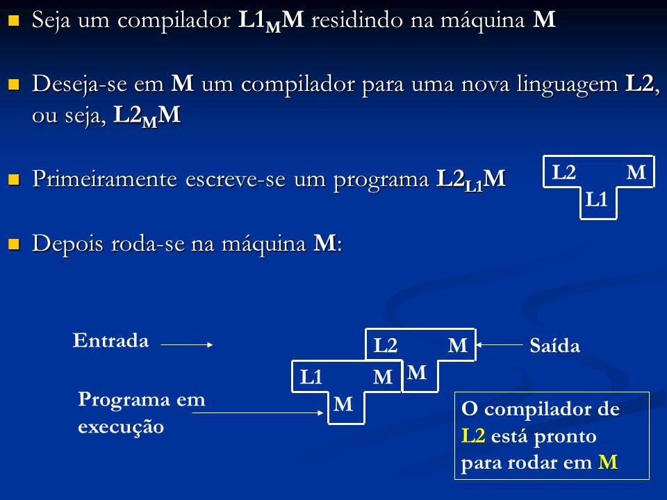 Seja um compilador L1 M M residindo na máquina M Seja um compilador L1 M M residindo na máquina M Deseja-se em M um compilador para uma nova linguagem