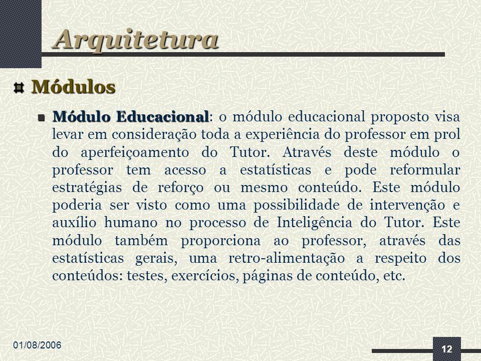 01/08/2006 12 Módulos Módulo Educacional Módulo Educacional: o módulo educacional proposto visa levar em consideração toda a experiência do professor em prol do aperfeiçoamento do Tutor.