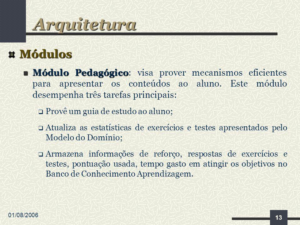01/08/2006 13 Módulos Módulo Pedagógico Módulo Pedagógico: visa prover mecanismos eficientes para apresentar os conteúdos ao aluno.