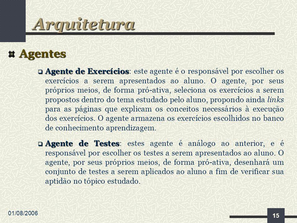 01/08/2006 15 Agentes Agente de Exercícios Agente de Exercícios: este agente é o responsável por escolher os exercícios a serem apresentados ao aluno.
