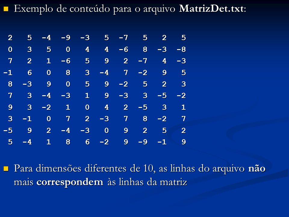 Exemplo de conteúdo para o arquivo MatrizDet.txt: Exemplo de conteúdo para o arquivo MatrizDet.txt: 2 5 -4 -9 -3 5 -7 5 2 5 2 5 -4 -9 -3 5 -7 5 2 5 0