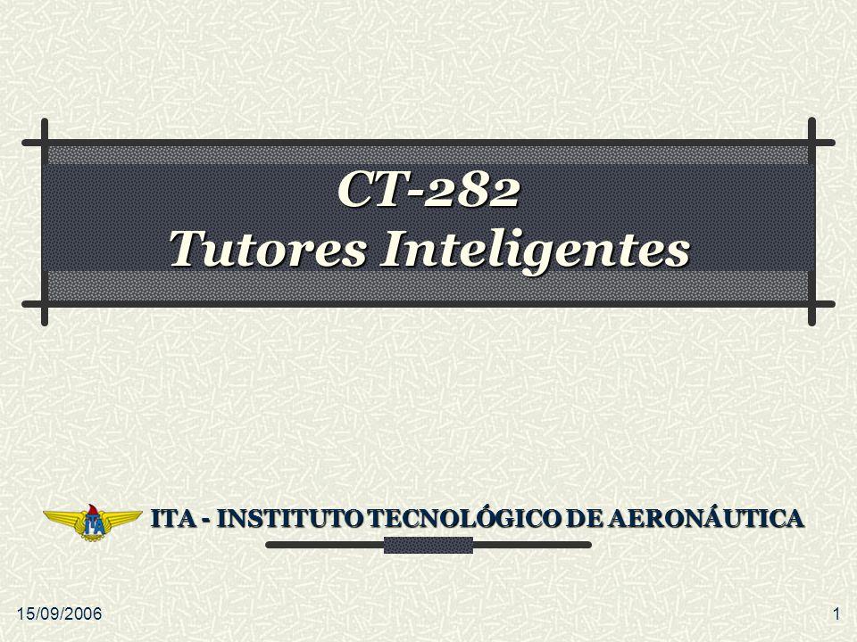 15/09/20061 CT-282 Tutores Inteligentes ITA - INSTITUTO TECNOLÓGICO DE AERONÁUTICA ITA - INSTITUTO TECNOLÓGICO DE AERONÁUTICA