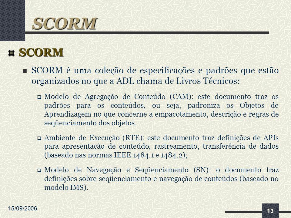 15/09/2006 13 SCORM SCORM é uma coleção de especificações e padrões que estão organizados no que a ADL chama de Livros Técnicos: Modelo de Agregação de Conteúdo (CAM): este documento traz os padrões para os conteúdos, ou seja, padroniza os Objetos de Aprendizagem no que concerne a empacotamento, descrição e regras de seqüenciamento dos objetos.