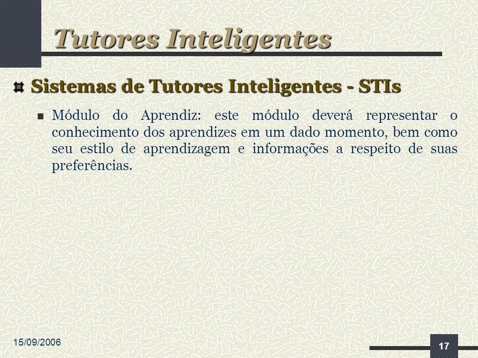 15/09/2006 17 Sistemas de Tutores Inteligentes - STIs Módulo do Aprendiz: este módulo deverá representar o conhecimento dos aprendizes em um dado momento, bem como seu estilo de aprendizagem e informações a respeito de suas preferências.