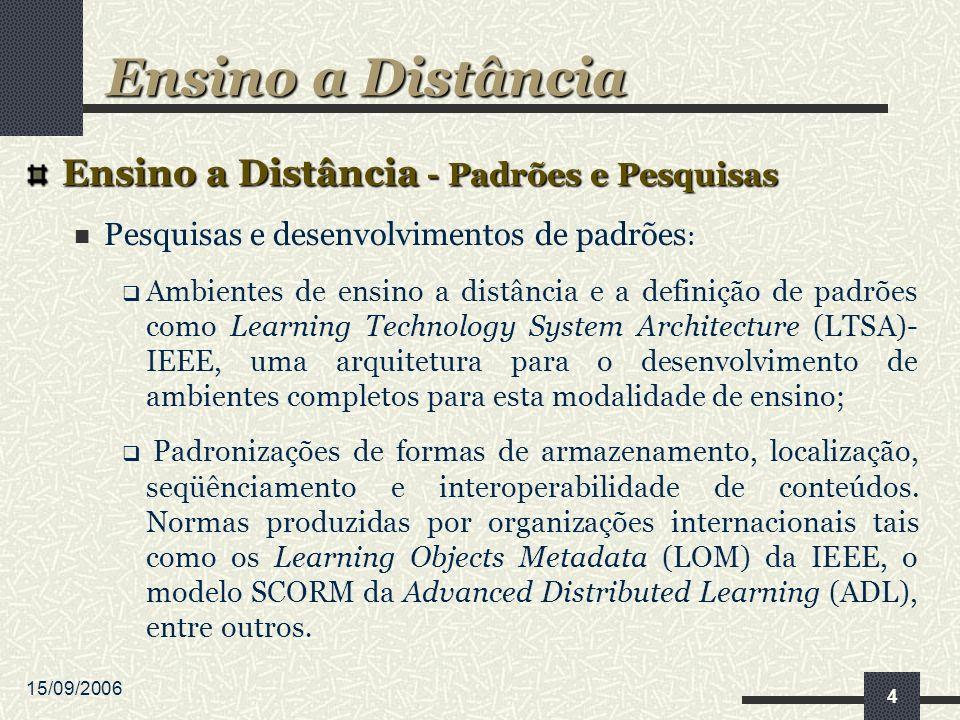 15/09/2006 4 Ensino a Distância - Padrões e Pesquisas Pesquisas e desenvolvimentos de padrões : Ambientes de ensino a distância e a definição de padrões como Learning Technology System Architecture (LTSA)- IEEE, uma arquitetura para o desenvolvimento de ambientes completos para esta modalidade de ensino; Padronizações de formas de armazenamento, localização, seqüênciamento e interoperabilidade de conteúdos.