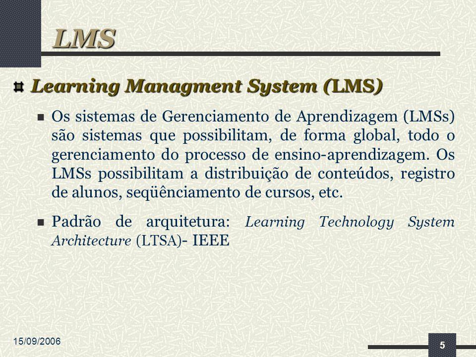 15/09/2006 5 Learning Managment System (LMS) Os sistemas de Gerenciamento de Aprendizagem (LMSs) são sistemas que possibilitam, de forma global, todo o gerenciamento do processo de ensino-aprendizagem.