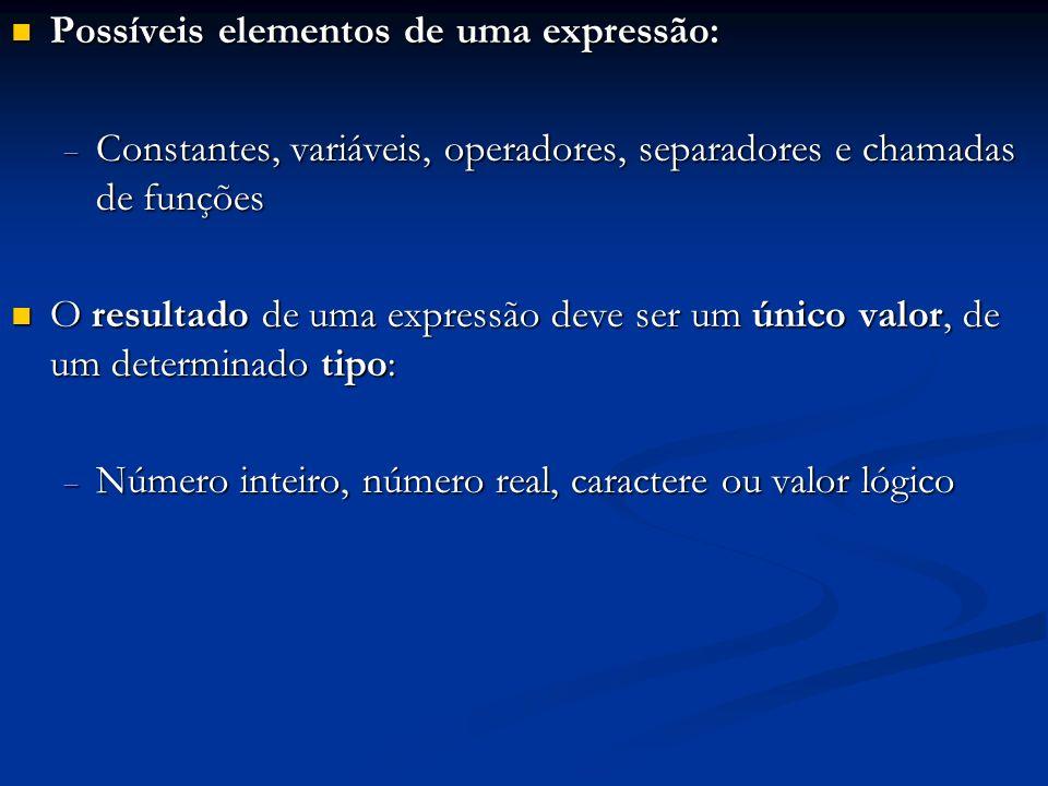 Possíveis elementos de uma expressão: Possíveis elementos de uma expressão: Constantes, variáveis, operadores, separadores e chamadas de funções Const