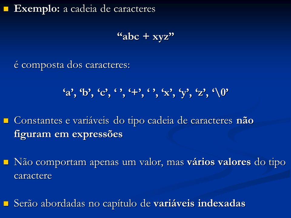 Exemplo: a cadeia de caracteres Exemplo: a cadeia de caracteres abc + xyz é composta dos caracteres: a, b, c,, +,, x, y, z, \0 Constantes e variáveis do tipo cadeia de caracteres não figuram em expressões Constantes e variáveis do tipo cadeia de caracteres não figuram em expressões Não comportam apenas um valor, mas vários valores do tipo caractere Não comportam apenas um valor, mas vários valores do tipo caractere Serão abordadas no capítulo de variáveis indexadas Serão abordadas no capítulo de variáveis indexadas