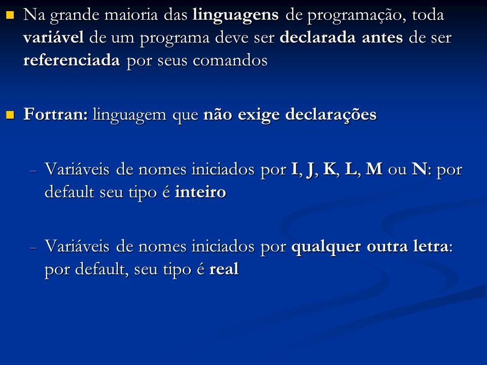 Na grande maioria das linguagens de programação, toda variável de um programa deve ser declarada antes de ser referenciada por seus comandos Na grande maioria das linguagens de programação, toda variável de um programa deve ser declarada antes de ser referenciada por seus comandos Fortran: linguagem que não exige declarações Fortran: linguagem que não exige declarações Variáveis de nomes iniciados por I, J, K, L, M ou N: por default seu tipo é inteiro Variáveis de nomes iniciados por I, J, K, L, M ou N: por default seu tipo é inteiro Variáveis de nomes iniciados por qualquer outra letra: por default, seu tipo é real Variáveis de nomes iniciados por qualquer outra letra: por default, seu tipo é real