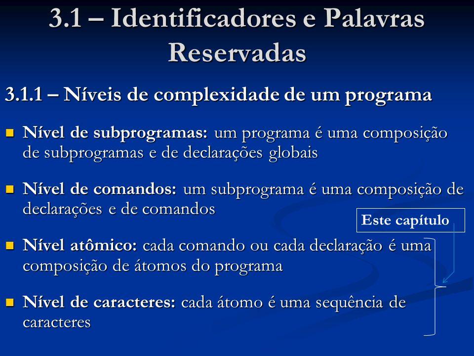 3.1 – Identificadores e Palavras Reservadas 3.1.1 – Níveis de complexidade de um programa Nível de subprogramas: um programa é uma composição de subprogramas e de declarações globais Nível de subprogramas: um programa é uma composição de subprogramas e de declarações globais Nível de comandos: um subprograma é uma composição de declarações e de comandos Nível de comandos: um subprograma é uma composição de declarações e de comandos Nível atômico: cada comando ou cada declaração é uma composição de átomos do programa Nível atômico: cada comando ou cada declaração é uma composição de átomos do programa Nível de caracteres: cada átomo é uma sequência de caracteres Nível de caracteres: cada átomo é uma sequência de caracteres Este capítulo