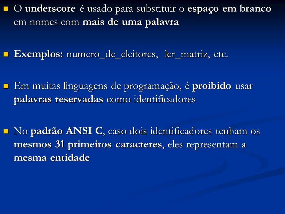 abcde Exemplo: escrita de caracteres de controle: Seja a execução do programa: Seja a execução do programa: #include #include void main () { printf ( abcde\nabcde\rxxx\nabcde ); } _ _abcde_ Vídeo abcde_abcde xxxde abcde_ _ _