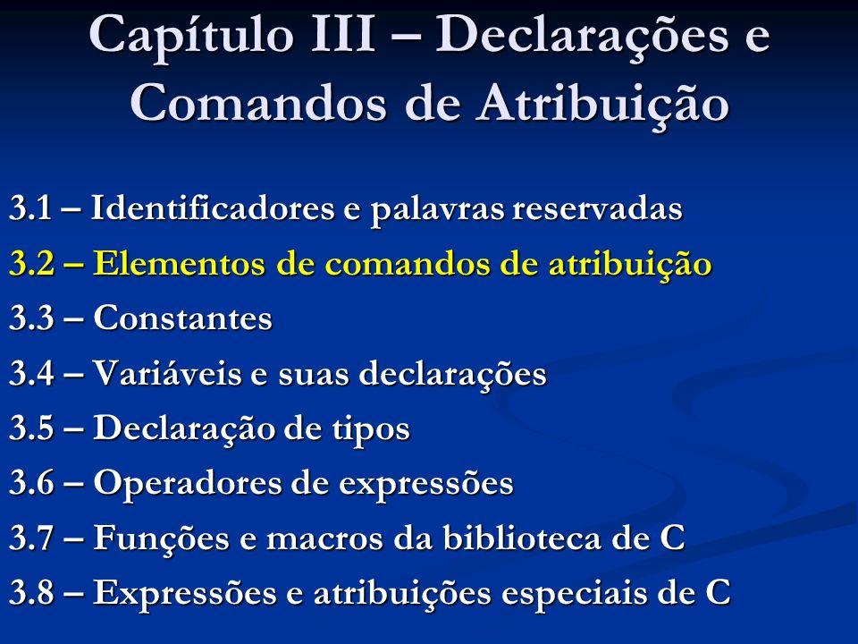 3.2 – Elementos de comandos de atribuição Forma geral de um comando de atribuição em C: Forma geral de um comando de atribuição em C: Variável = Expressão; Execução: calcula-se o valor de Expressão, atribuindo-o a Variável Execução: calcula-se o valor de Expressão, atribuindo-o a Variável