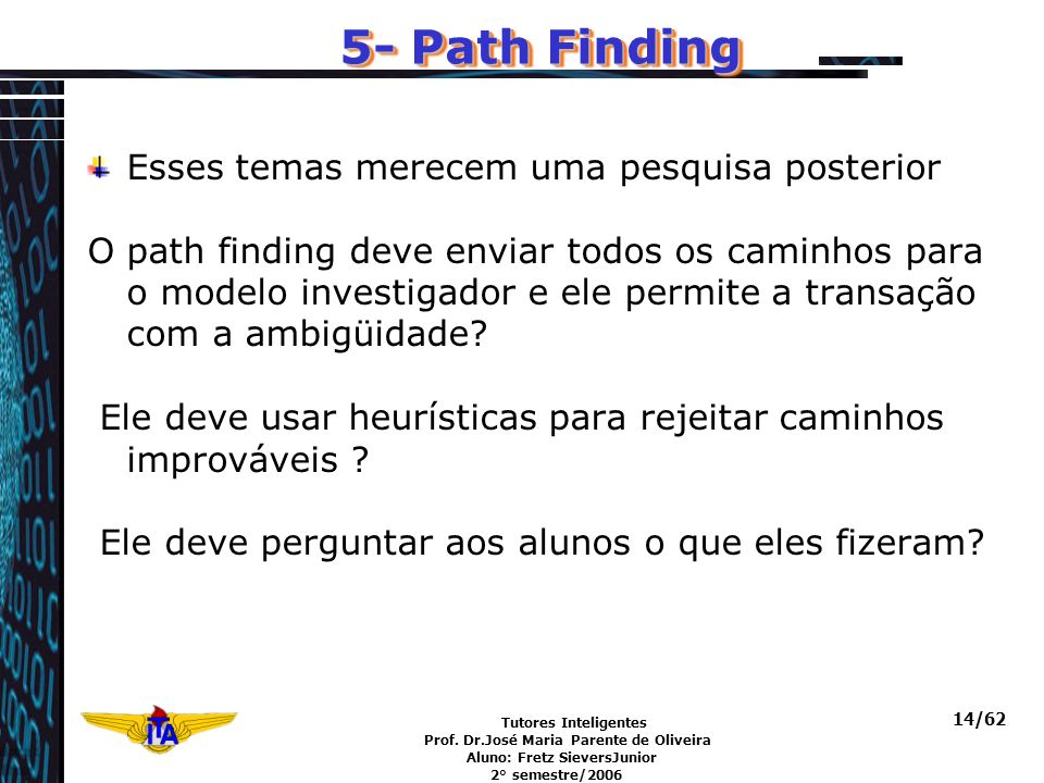 Tutores Inteligentes Prof. Dr.José Maria Parente de Oliveira Aluno: Fretz SieversJunior 2° semestre/2006 14/62 5- Path Finding Esses temas merecem uma