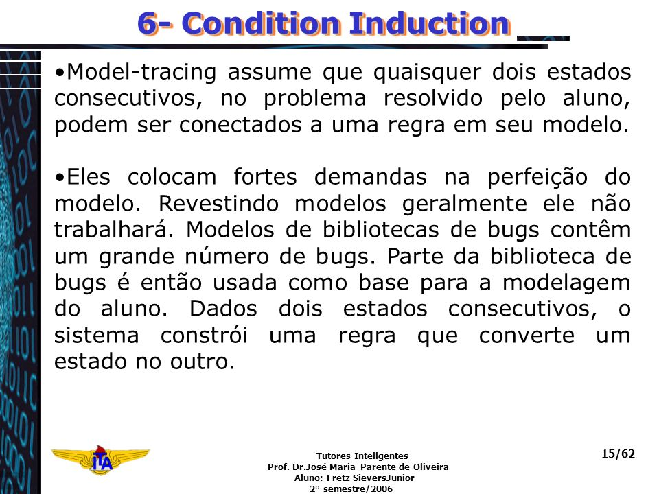 Tutores Inteligentes Prof. Dr.José Maria Parente de Oliveira Aluno: Fretz SieversJunior 2° semestre/2006 15/62 6- Condition Induction Model-tracing as