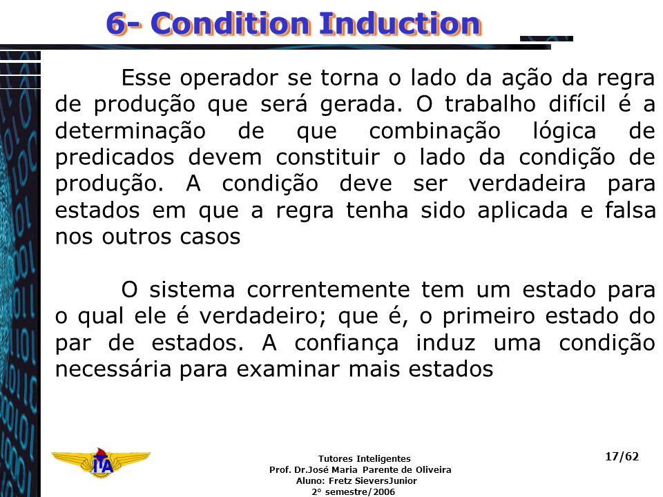 Tutores Inteligentes Prof. Dr.José Maria Parente de Oliveira Aluno: Fretz SieversJunior 2° semestre/2006 17/62 6- Condition Induction Esse operador se