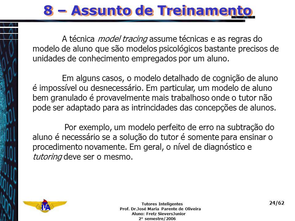 Tutores Inteligentes Prof. Dr.José Maria Parente de Oliveira Aluno: Fretz SieversJunior 2° semestre/2006 24/62 A técnica model tracing assume técnicas