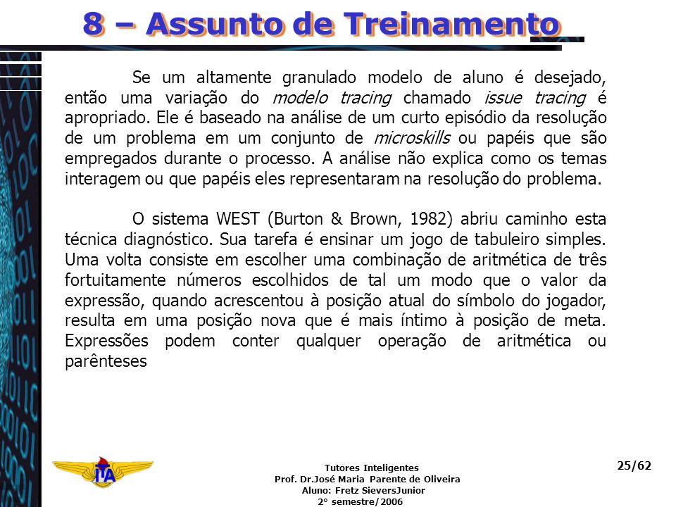 Tutores Inteligentes Prof. Dr.José Maria Parente de Oliveira Aluno: Fretz SieversJunior 2° semestre/2006 25/62 Se um altamente granulado modelo de alu