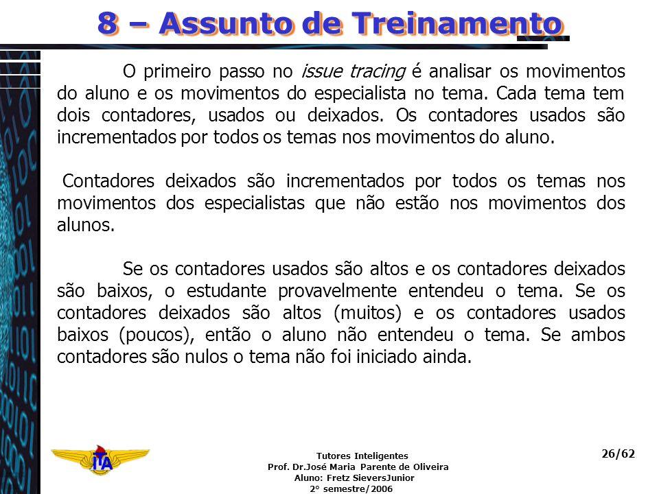 Tutores Inteligentes Prof. Dr.José Maria Parente de Oliveira Aluno: Fretz SieversJunior 2° semestre/2006 26/62 8 – Assunto de Treinamento O primeiro p