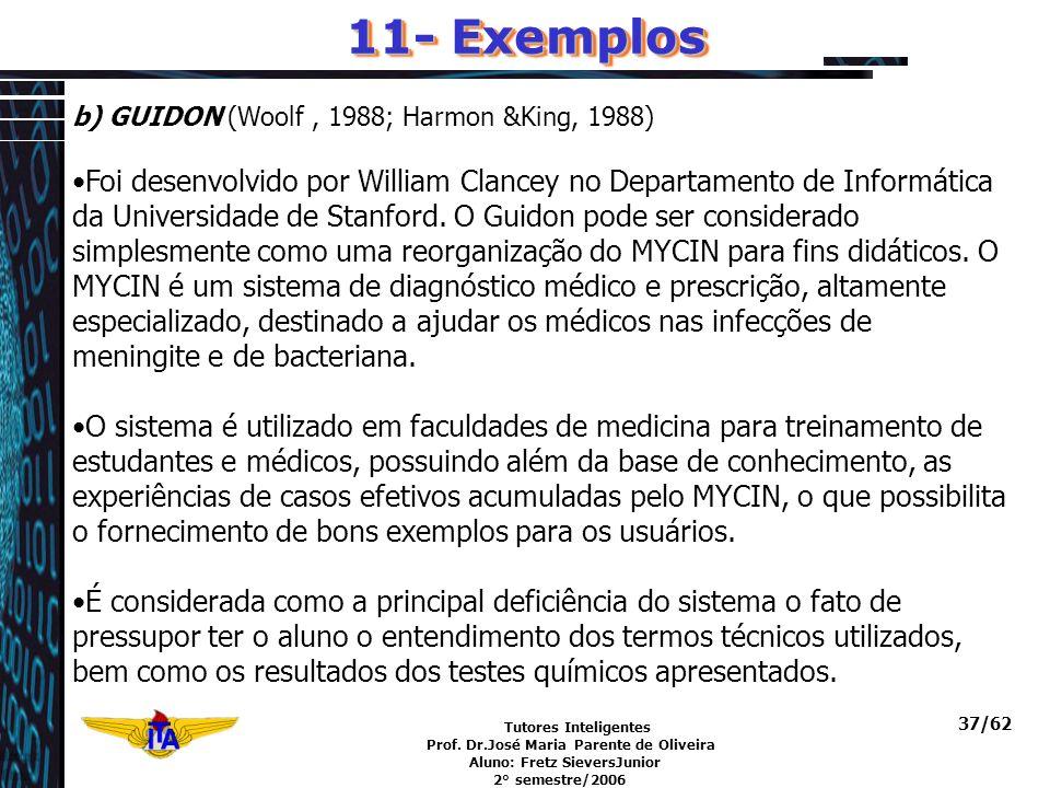 Tutores Inteligentes Prof. Dr.José Maria Parente de Oliveira Aluno: Fretz SieversJunior 2° semestre/2006 37/62 b) GUIDON (Woolf, 1988; Harmon &King, 1