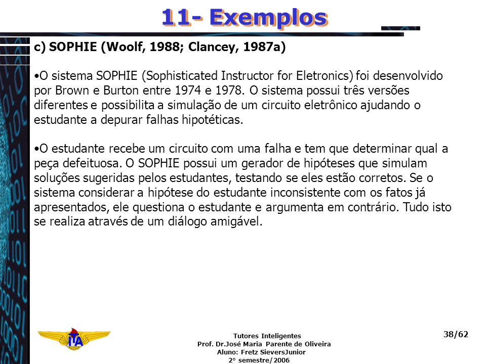Tutores Inteligentes Prof. Dr.José Maria Parente de Oliveira Aluno: Fretz SieversJunior 2° semestre/2006 38/62 c) SOPHIE (Woolf, 1988; Clancey, 1987a)