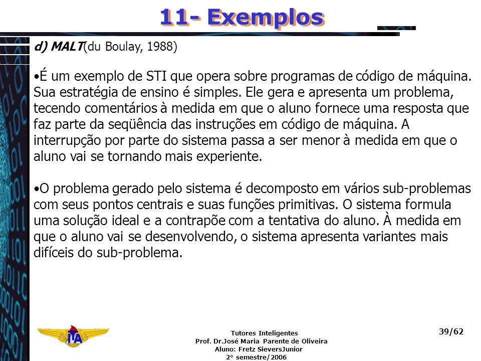 Tutores Inteligentes Prof. Dr.José Maria Parente de Oliveira Aluno: Fretz SieversJunior 2° semestre/2006 39/62 d) MALT(du Boulay, 1988) É um exemplo d