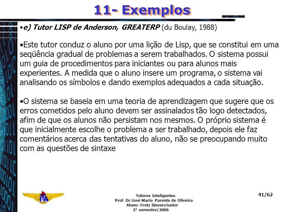 Tutores Inteligentes Prof. Dr.José Maria Parente de Oliveira Aluno: Fretz SieversJunior 2° semestre/2006 41/62 11- Exemplos e) Tutor LISP de Anderson,