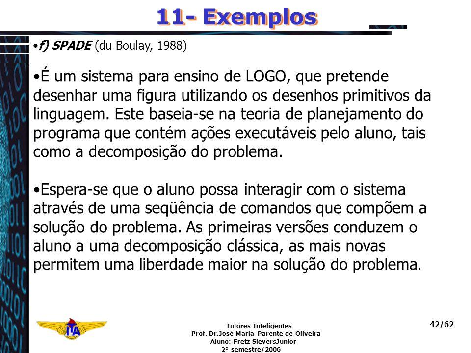 Tutores Inteligentes Prof. Dr.José Maria Parente de Oliveira Aluno: Fretz SieversJunior 2° semestre/2006 42/62 f) SPADE (du Boulay, 1988) É um sistema