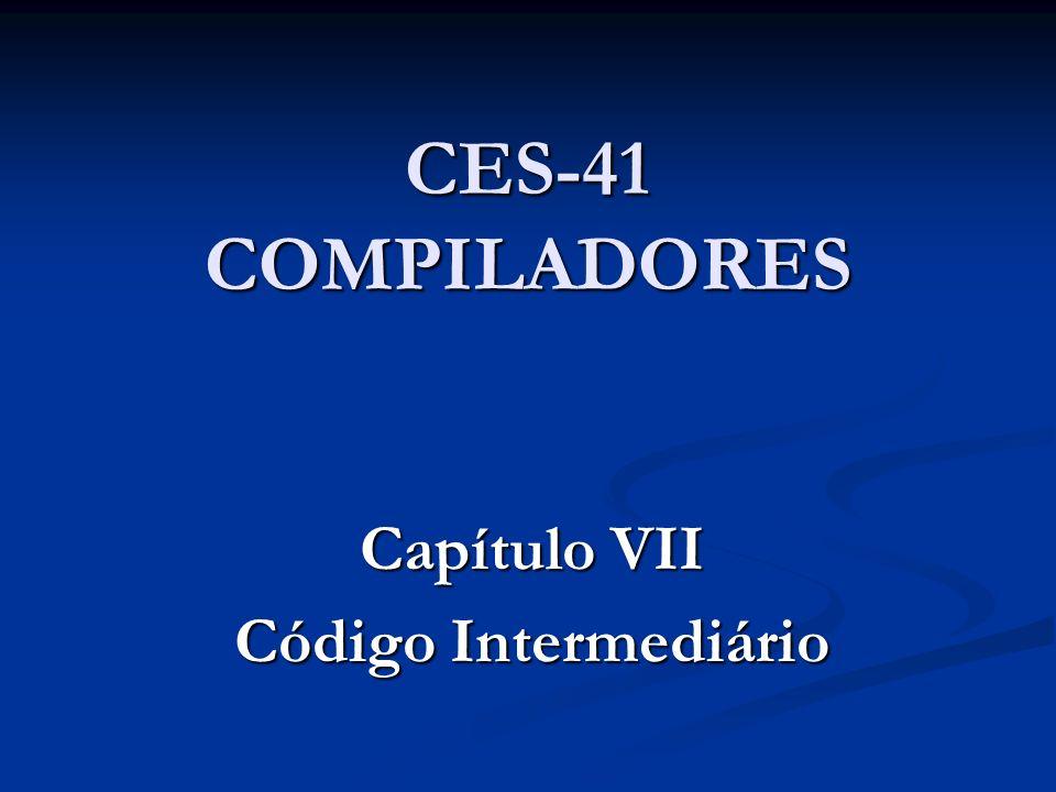 34) PARAM, (VAR, m), (IDLE), (IDLE) 35) CALLOP, (FUNCAO, fat), (INT, 1), (VAR, ##19) 36) MENOSOP, (VAR, m), (VAR, n), (VAR, ##20) 37) PARAM, (VAR, ##20), (IDLE), (IDLE) 38) CALLOP, (FUNCAO, fat), (INT, 1), (VAR, ##21) 39) PARAM, (VAR, n), (IDLE), (IDLE) 40) CALLOP, (FUNCAO, fat), (INT, 1), (VAR, ##22) 41) MULTOP, (VAR, ##21), (VAR, ##22), (VAR, ##23) 42) DIVOP, (VAR, ##19), (VAR, ##23), (VAR, ##24) 43) ATRIBOP, (VAR, ##24), (IDLE), (VAR, comb) CALLOP chama a função fat Retira 1 argumento da pilha de parâmetros Deposita o argumento no parâmetro n da função fat O parâmetro n da função fat é localizado na lista de parâmetros do identificador fat na TabSmb