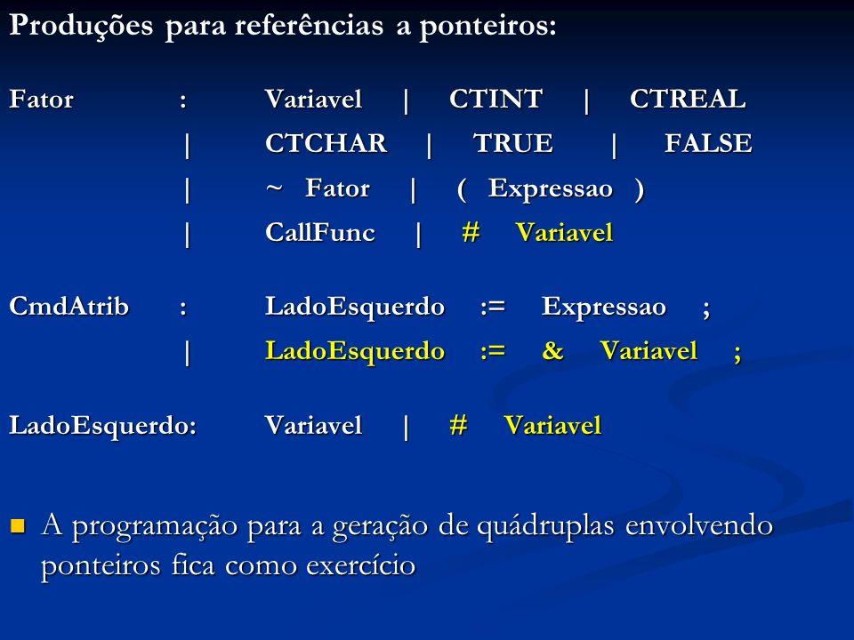 Produções para referências a ponteiros: Fator: Variavel | CTINT | CTREAL | CTCHAR | TRUE | FALSE | ~ Fator | ( Expressao ) |CallFunc | # Variavel CmdAtrib:LadoEsquerdo := Expressao ; |LadoEsquerdo := & Variavel ; LadoEsquerdo:Variavel | # Variavel A programação para a geração de quádruplas envolvendo ponteiros fica como exercício A programação para a geração de quádruplas envolvendo ponteiros fica como exercício
