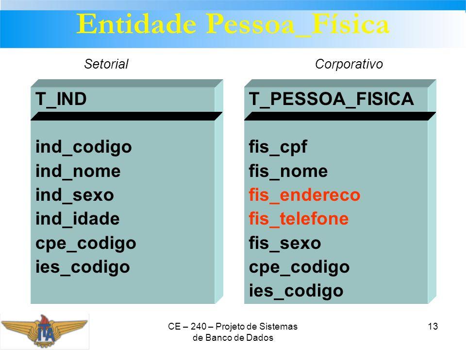 CE – 240 – Projeto de Sistemas de Banco de Dados 13 T_PESSOA_FISICA fis_cpf fis_nome fis_endereco fis_telefone fis_sexo cpe_codigo ies_codigo T_IND in