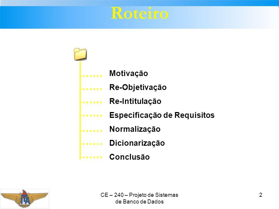 CE – 240 – Projeto de Sistemas de Banco de Dados 2 Roteiro Motivação Re-Objetivação Re-Intitulação Especificação de Requisitos Normalização Dicionariz