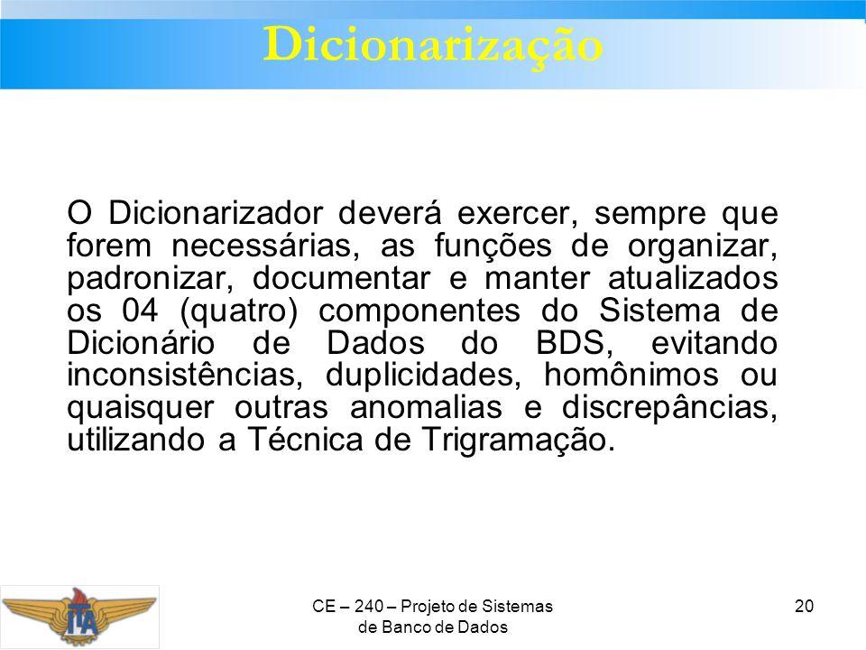 CE – 240 – Projeto de Sistemas de Banco de Dados 20 Dicionarização O Dicionarizador deverá exercer, sempre que forem necessárias, as funções de organi