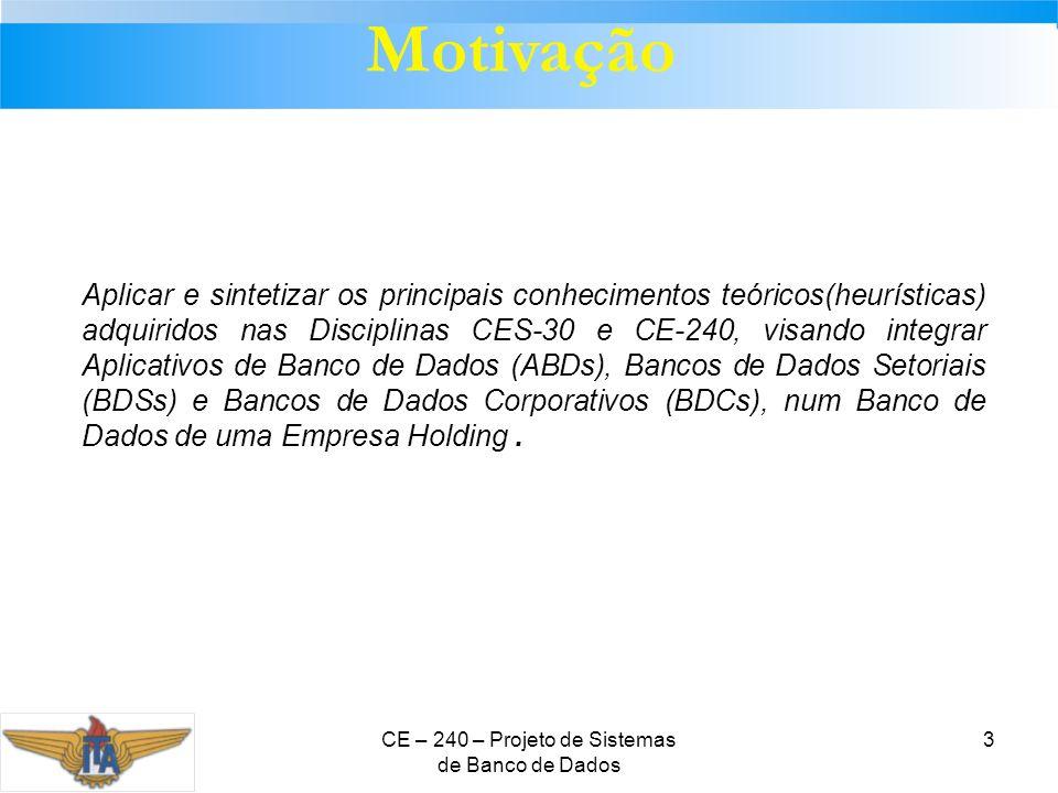 CE – 240 – Projeto de Sistemas de Banco de Dados 3 Motivação Aplicar e sintetizar os principais conhecimentos teóricos(heurísticas) adquiridos nas Dis