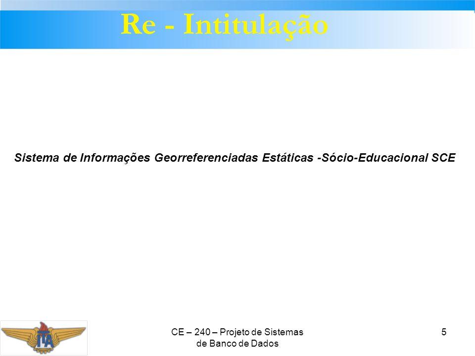 CE – 240 – Projeto de Sistemas de Banco de Dados 5 Re - Intitulação Sistema de Informações Georreferenciadas Estáticas -Sócio-Educacional SCE