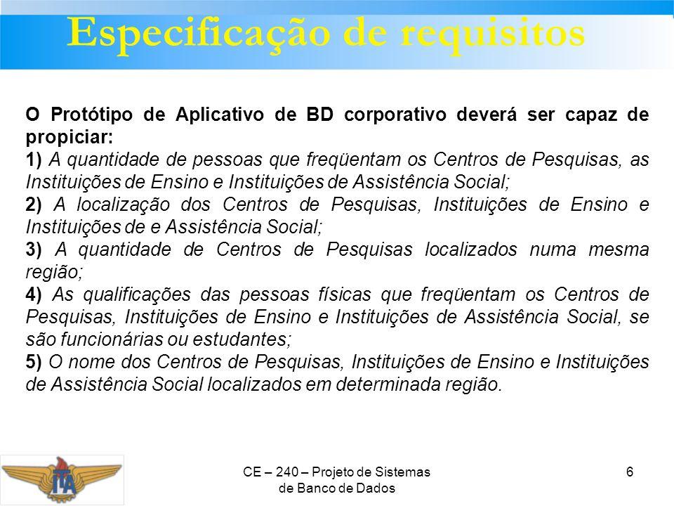 CE – 240 – Projeto de Sistemas de Banco de Dados 6 Especificação de requisitos O Protótipo de Aplicativo de BD corporativo deverá ser capaz de propici