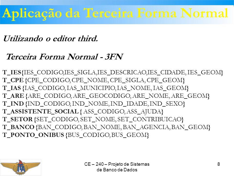 CE – 240 – Projeto de Sistemas de Banco de Dados 8 Utilizando o editor third. T_IES{IES_CODIGO,IES_SIGLA,IES_DESCRICAO,IES_CIDADE, IES_GEOM} T_CPE {CP