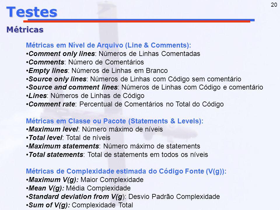 20TestesMétricas Métricas em Nível de Arquivo (Line & Comments): Comment only lines: Números de Linhas Comentadas Comments: Número de Comentários Empt