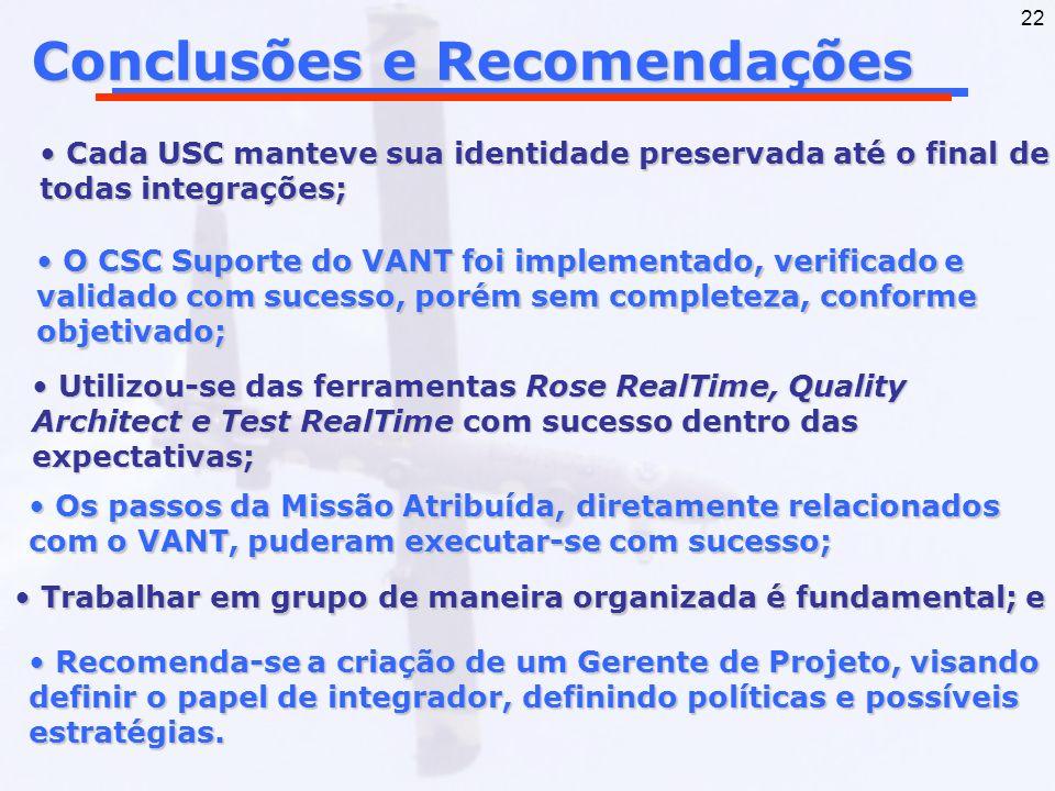 22 Conclusões e Recomendações Trabalhar em grupo de maneira organizada é fundamental; e Trabalhar em grupo de maneira organizada é fundamental; e Cada