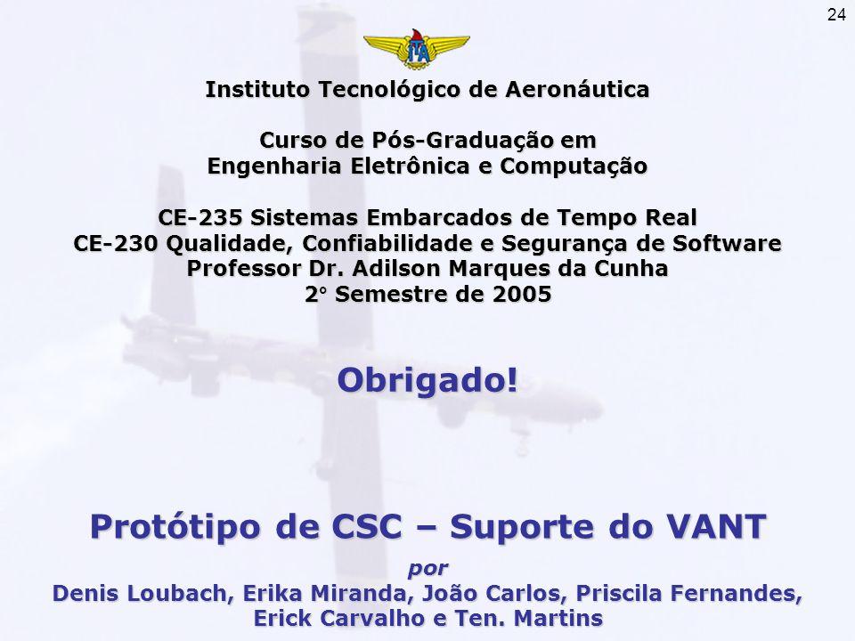 24 Instituto Tecnológico de Aeronáutica Curso de Pós-Graduação em Engenharia Eletrônica e Computação CE-235 Sistemas Embarcados de Tempo Real CE-230 Q