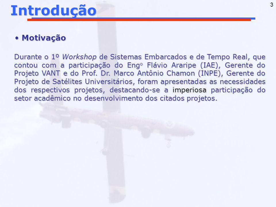 3Introdução Motivação Motivação Durante o 1º Workshop de Sistemas Embarcados e de Tempo Real, que contou com a participação do Eng o Flávio Araripe (I