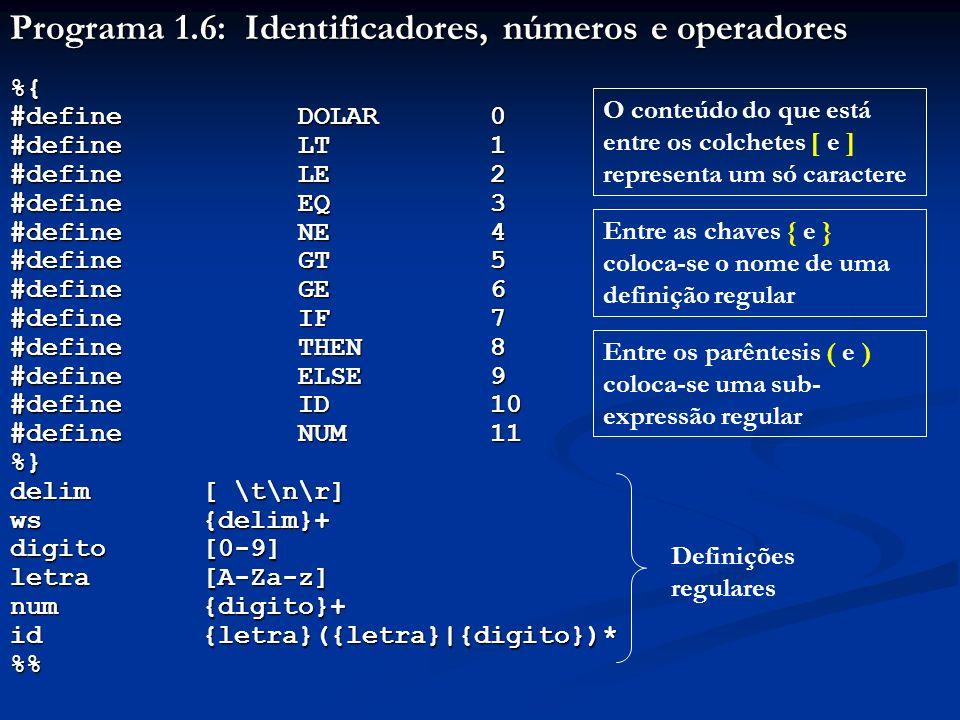 Programa 1.6: Identificadores, números e operadores %{ #define DOLAR 0 #defineLT1 #defineLE2 #defineEQ3 #defineNE4 #defineGT5 #defineGE6 #defineIF7 #d