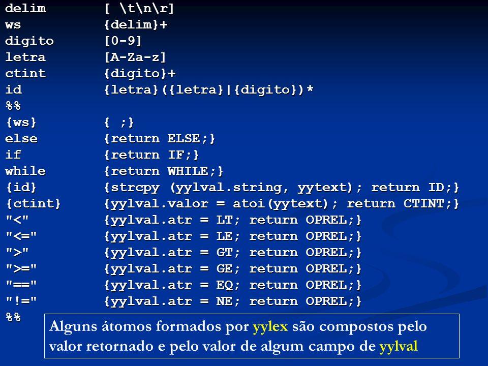 delim[ \t\n\r] ws{delim}+ digito[0-9] letra[A-Za-z] ctint{digito}+ id{letra}({letra}|{digito})* % {ws}{ ;} else{return ELSE;} if{return IF;} while{ret
