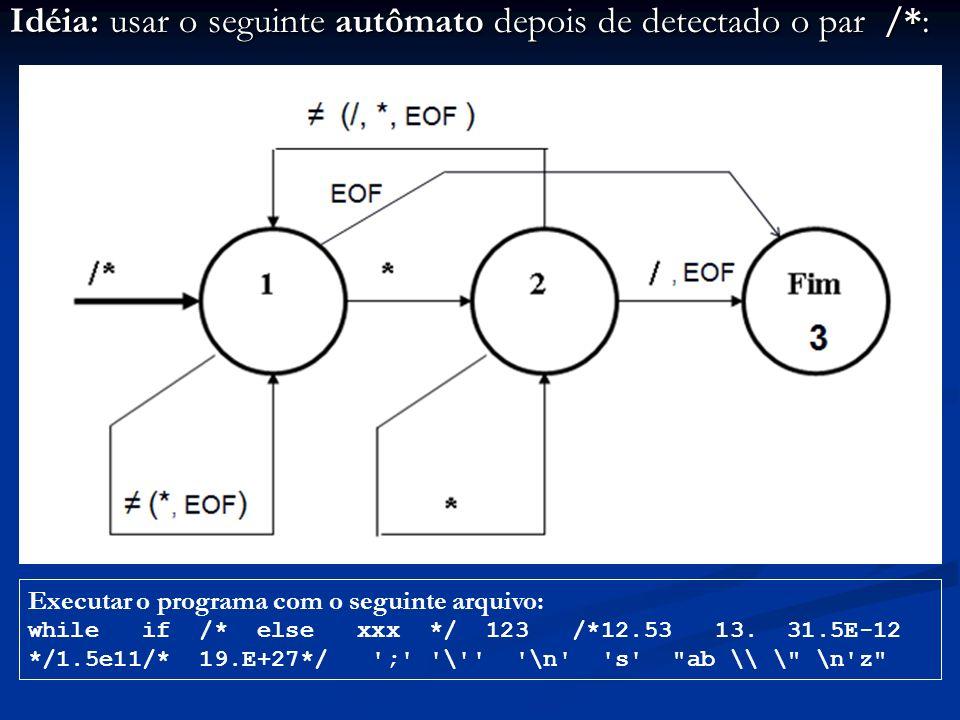 Idéia: usar o seguinte autômato depois de detectado o par /*: Executar o programa com o seguinte arquivo: while if /* else xxx */ 123 /*12.53 13. 31.5