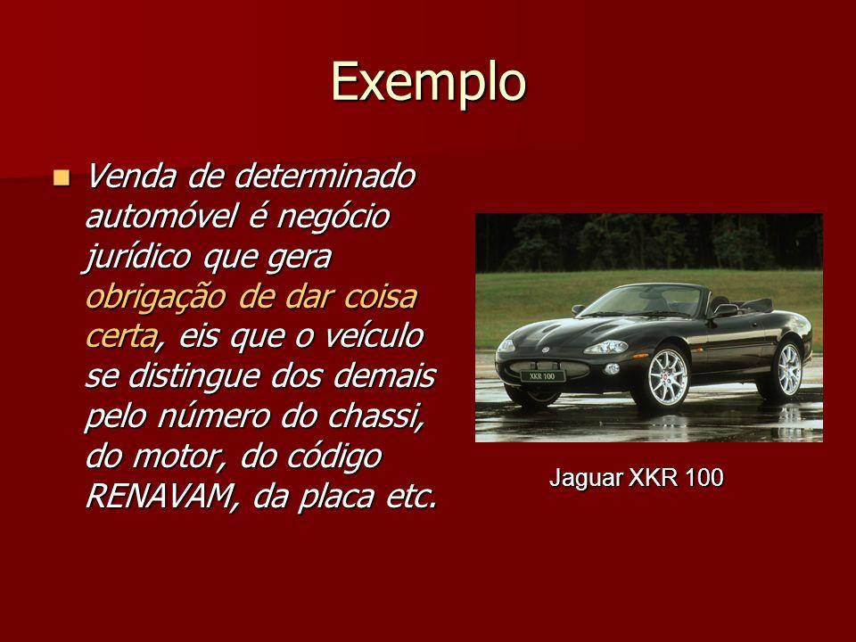 Exemplo Venda de determinado automóvel é negócio jurídico que gera obrigação de dar coisa certa, eis que o veículo se distingue dos demais pelo número do chassi, do motor, do código RENAVAM, da placa etc.