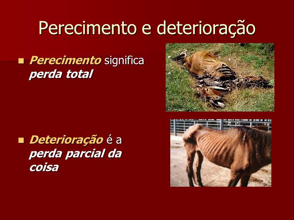 Perecimento e deterioração Perecimento significa perda total Perecimento significa perda total Deterioração é a perda parcial da coisa Deterioração é a perda parcial da coisa
