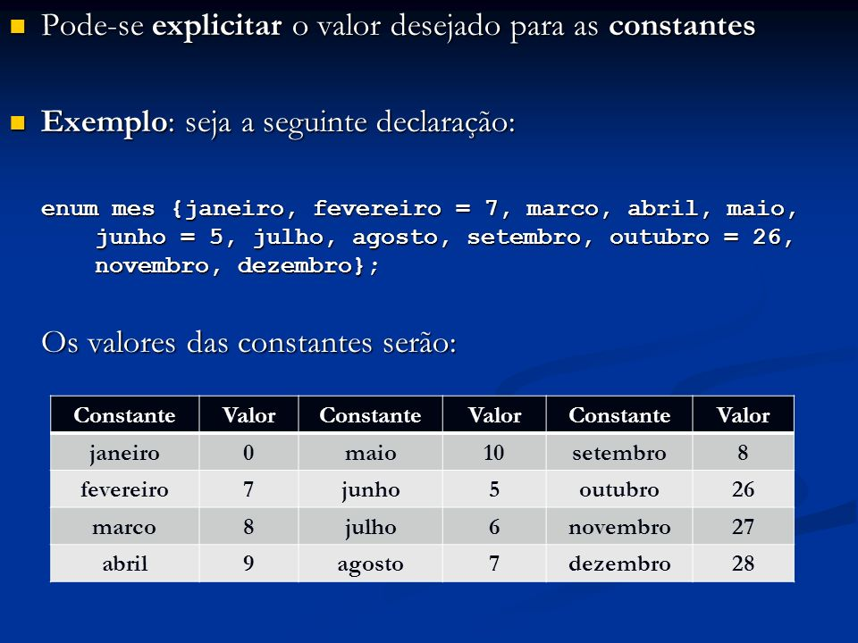 Pode-se explicitar o valor desejado para as constantes Pode-se explicitar o valor desejado para as constantes Exemplo: seja a seguinte declaração: Exemplo: seja a seguinte declaração: enum mes {janeiro, fevereiro = 7, marco, abril, maio, junho = 5, julho, agosto, setembro, outubro = 26, novembro, dezembro}; Os valores das constantes serão: ConstanteValorConstanteValorConstanteValor janeiro0maio10setembro8 fevereiro7junho5outubro26 marco8julho6novembro27 abril9agosto7dezembro28