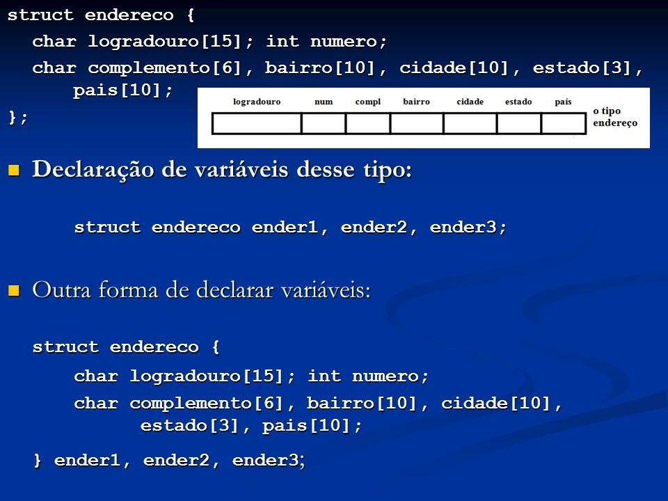struct endereco { char logradouro[15]; int numero; char complemento[6], bairro[10], cidade[10], estado[3], pais[10]; }; Declaração de variáveis desse tipo: Declaração de variáveis desse tipo: struct endereco ender1, ender2, ender3; Outra forma de declarar variáveis: Outra forma de declarar variáveis: struct endereco { char logradouro[15]; int numero; char complemento[6], bairro[10], cidade[10], estado[3], pais[10]; } ender1, ender2, ender3 ;